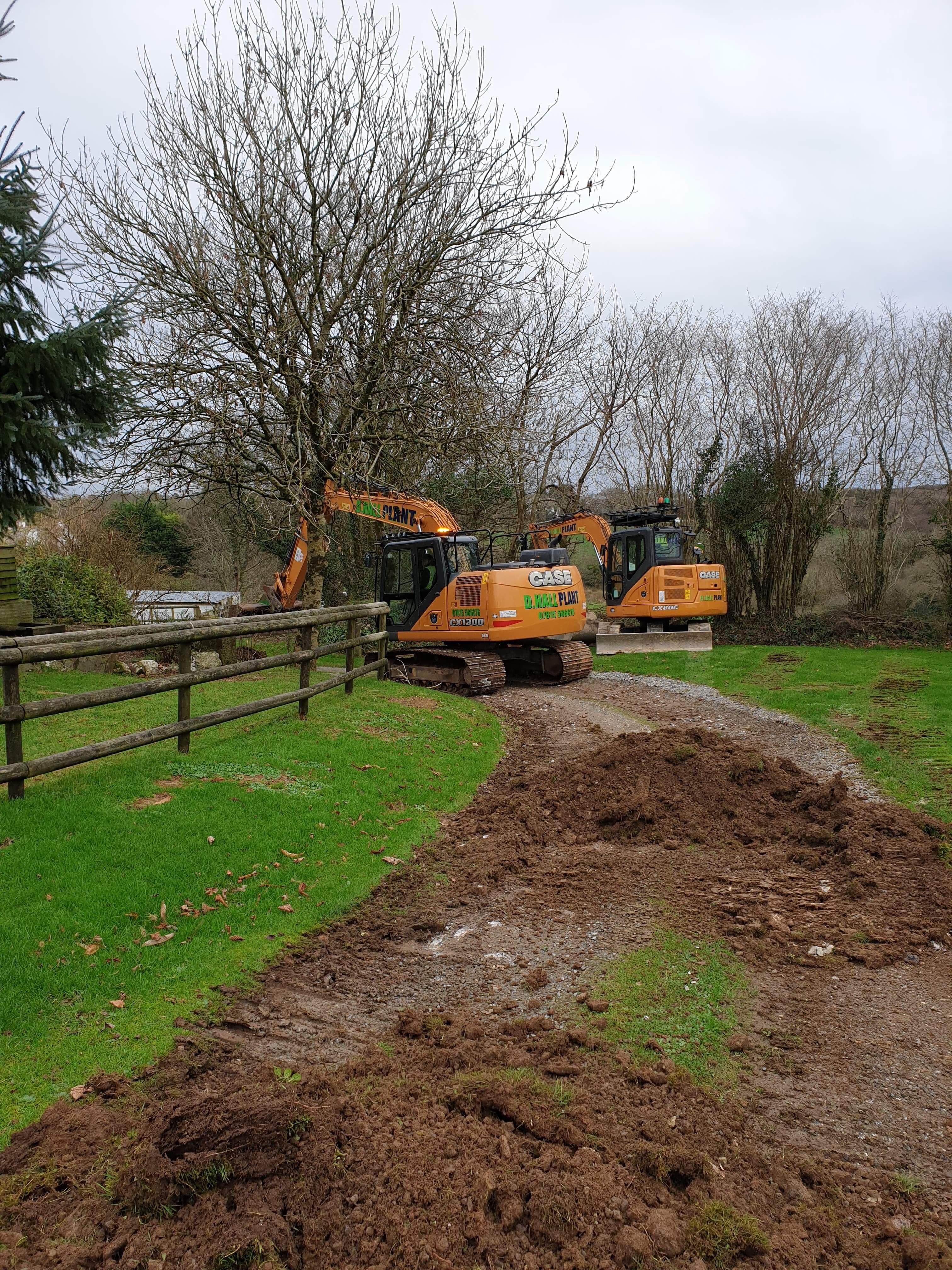 Digger Groundworks excavator plant hire Liskeard